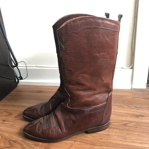Vintage Embossed Leather Riding Boots 8.5